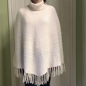 Talbots off white 100% wool poncho